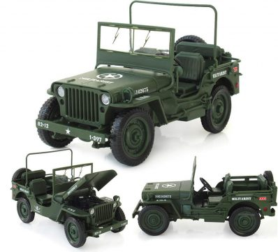 New WWII Military Jeep Willys Tactics 1:18 Alloy Diecast Model Cars Collections na prodej