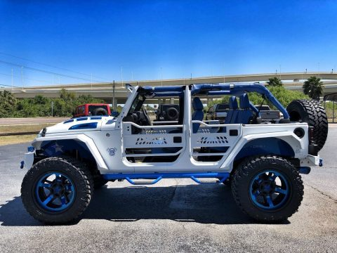 2018 Jeep Wrangler Custom White N' BLUE Lifted Leather HARDTOP na prodej